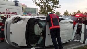 Malatyada devrilen hafif ticari araç sürücüsü yaralandı