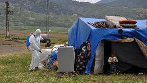 İslahiyeye gelen 1500 mevsimlik tarım işçisi çadırlarında karantinada