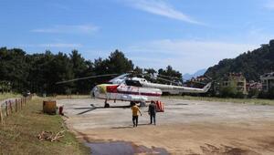 Yangın söndürme helikopteri Marmariste konuşlandı