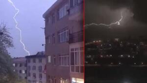 İstanbul'da geceyi aydınlatan şimşekler havadan görüntülendi
