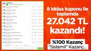 8 iddaa kuponu ile toplamda 27.042 TL kazandı %100 kazanç...