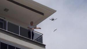 Çorumda drone ile maske dağıtımı