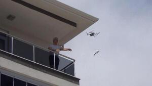 Çorum'da drone ile maske dağıtımı yapıldı