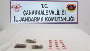 Çanakkalede 3 kişi, araçlarında uyuşturucuyla yakalandı