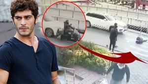 Ünlü oyuncu kaza yaptı...O anlar güvenlik kamerasına yansıdı