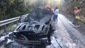 Marmariste otomobil yangınında faciadan dönüldü