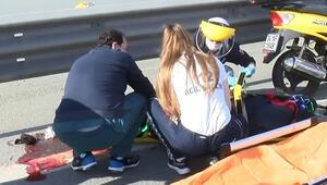 Sarıyer TEMde kaza yapan motosikletliye yoldan geçen doktor müdahale etti