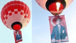 Türkiyenin ilk yerli sıcak hava balonu, Atatürk posteri ve Türk bayrağı ile havalandı