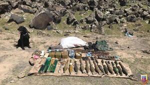 Ağrı Dağında PKKlı teröristlere ait silah ve mühimmat ele geçirildi