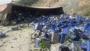 Bilecik'te TIR yan yattı, tonlarca biber kasası yola saçıldı