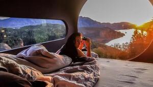 İlginç kabinlerde tatil keyfi Koronadan uzak doğayla iç içe...