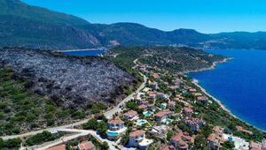 Aydınlatma direğinden çıkan yangın, villalara 15 metre kala söndürüldü