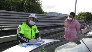 15 Temmuz Şehitler Köprüsünde denetim: İzin belgesi olmayan sürücüye ceza