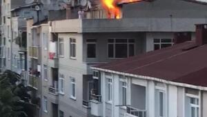 Küçükçekmecede teras katındaki mangal keyfi yangın çıkardı