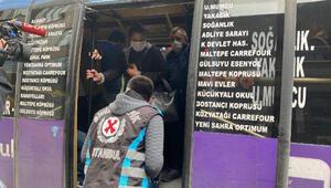 Kartalda ayakta 10 yolcusu olan minibüse ceza