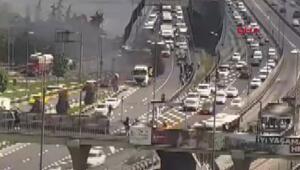 Son dakika... Haliç Köprüsünde hafriyat kamyonunda yangın