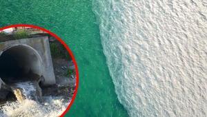 İSKİnin arıtma tesisinden bırakılan suyla denizin rengi böyle değişti