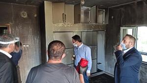 Midyat'ta evi yanan aileye yardım eli