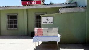 Suriye sınırında kaçak sigara ele geçti