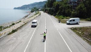 Dronlu trafik denetiminde sürücülere para cezası