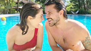 Fulya Zenginer ile Kuntay Tarık Evrenin havuz keyfi