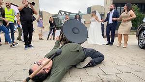 Düğün yasağına gelinli, damatlı, davullu, zurnalı protesto