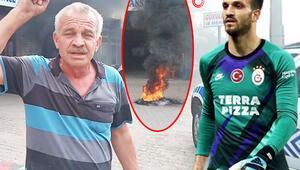 Galatasaray maçı sonrası Okan Kocuk'un babası, Alper Ulusoy'a kızıp lastik yaktı