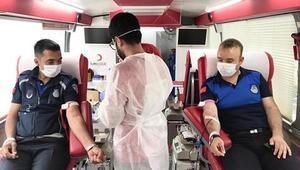 Zabıta ekipleri kan bağışı yaptı