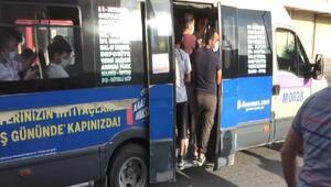 Minibüslerde izdiham: Kapılardan sarkanlar,  fazla yolcudan yan yatan araçlar