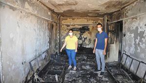 Evi yanan Çelik ailesi yardım bekliyor