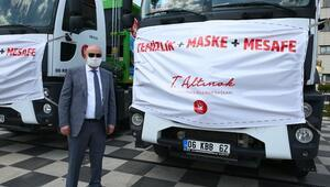 Çöp kamyonlarına mesajlı maske