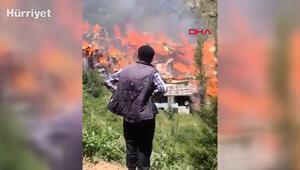 Yusufelinde çıkan yangın evlere sıçradı