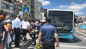 Beşiktaşta yaya geçidinde halk otobüsünün çarptığı kadın yaralandı