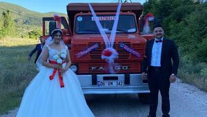 Gelin arabası süslü kamyon