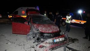 Edirnede takla atan otomobilin sürücüsü yaralandı