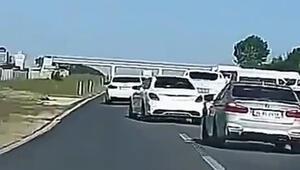 E-5te şaşkına düşüren görüntü 7 araç makas attı