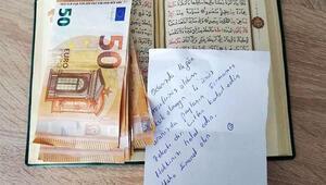 'Misafiriniz oldum, eksik olmayın' dedi, Kuran-ı Kerim'in arasına 400 Euro bıraktı