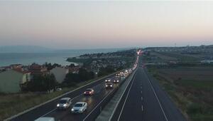 İstanbula dönüş yolunda yoğunluk