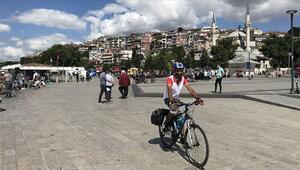 Türkiyeyi gezme hayalini bisikletle gerçekleştiriyor