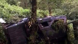 Trabzonda otomobil uçuruma yuvarlandı; 1 ölü, 5 yaralı