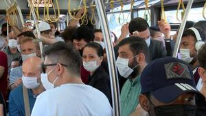 Yenibosnada fazla yolcu alan İETT şoförüne ceza kesildi