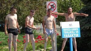 Erzurumda süs havuzlarında tehlikeye kulaç atıyorlar