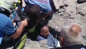 Göçük altında kalan 2 işçi böyle kurtarıldı