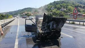 Kaza yapan otomobil alev aldı: Sürücü son anda kurtuldu