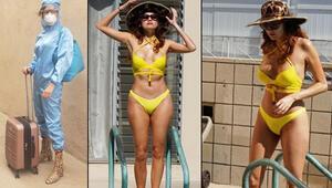 Korona kostümünü çıkardı, bikini giydi