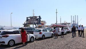 Tekirdağda, feribot iskelesinde araç yoğunluğu