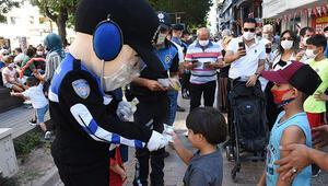 Eskişehir polisinden maskotlu koronavirüs uyarısı