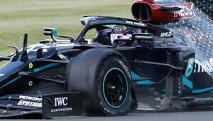 Formula 1de inanılmaz yarış Hamilton patlak lastikle yarışı kazandı