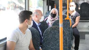 Bakan Soylu, Ankarada denetimde Halk otobüsüne bindi, yolcuları uyardı