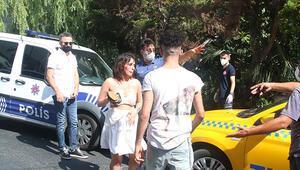 Sevgilisi dövdü, taksici kurtardı Polis gelince ortalığı birbirine kattı